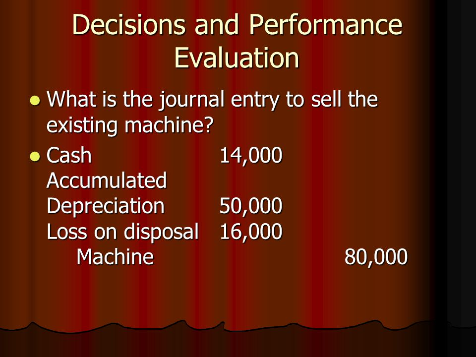 Decisions and Performance Evaluation What is the journal entry to sell the existing machine.