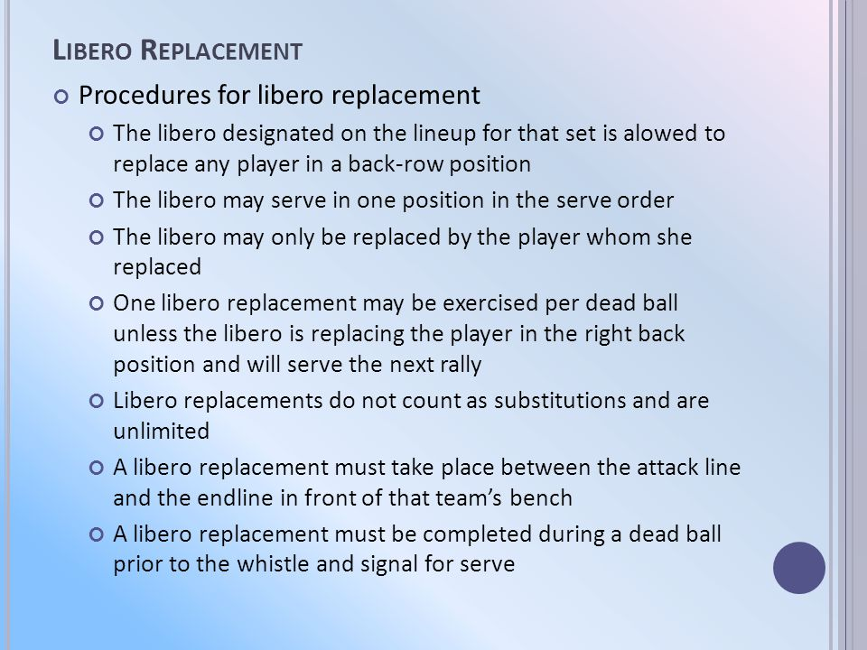 L IBERO R EPLACEMENT Procedures for libero replacement The libero designated on the lineup for that set is alowed to replace any player in a back-row position The libero may serve in one position in the serve order The libero may only be replaced by the player whom she replaced One libero replacement may be exercised per dead ball unless the libero is replacing the player in the right back position and will serve the next rally Libero replacements do not count as substitutions and are unlimited A libero replacement must take place between the attack line and the endline in front of that teams bench A libero replacement must be completed during a dead ball prior to the whistle and signal for serve
