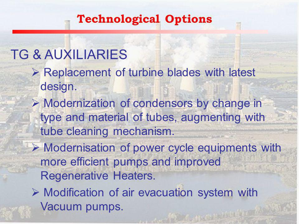 Technological Options TG & AUXILIARIES Replacement of turbine blades with latest design.