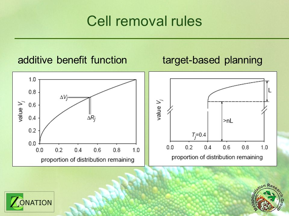 Cell removal rules additive benefit function target-based planning