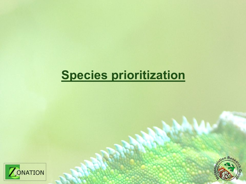 Species prioritization