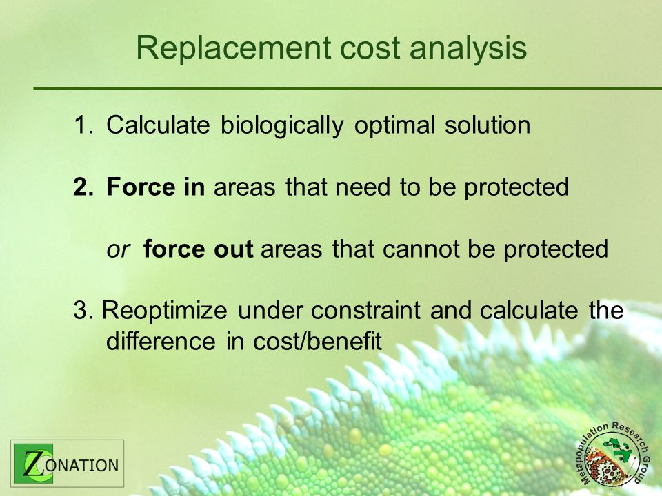 Replacement cost analysis 1.Calculate biologically optimal solution 2.Force in areas that need to be protected or force out areas that cannot be protected 3.