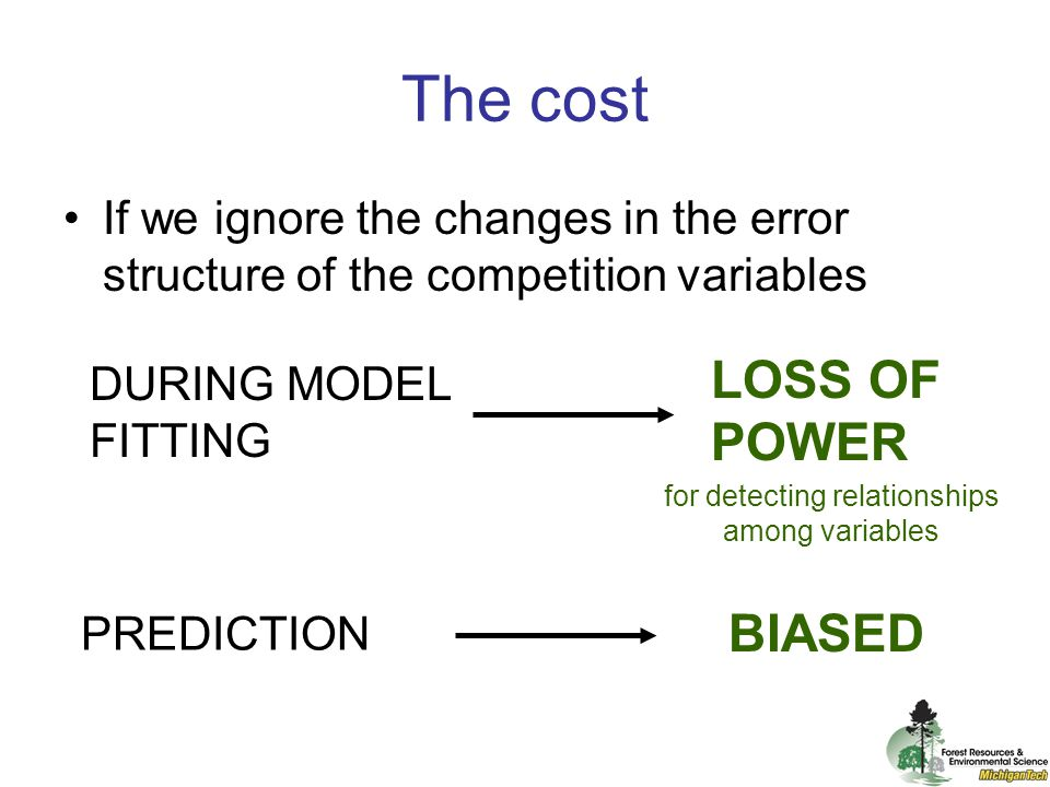 If we ignore the changes in the error structure of the competition variables PREDICTION DURING MODEL FITTING BIASED LOSS OF POWER for detecting relationships among variables