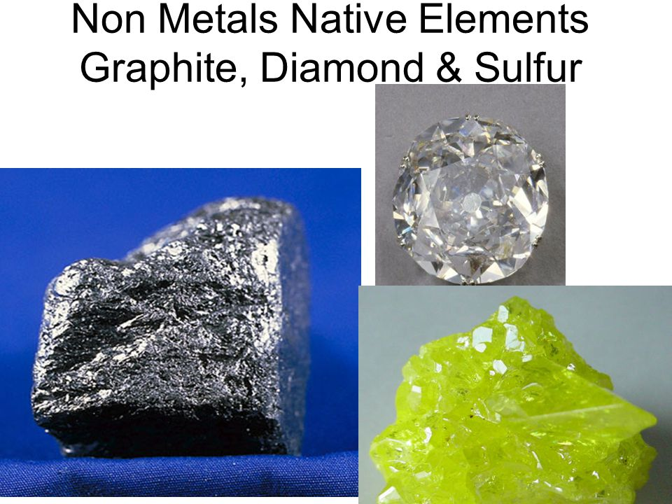NATIVE ELEMENTS Six in this Group Graphite, silver, gold, copper, sulfur, diamond. Occur in nature in uncombined form. CopperSilverGold Gold METALS: S