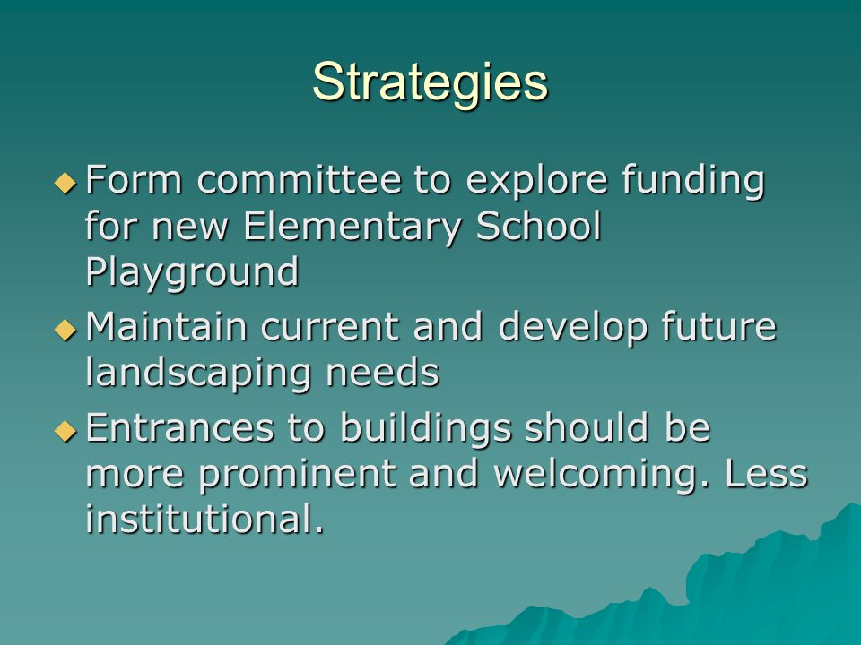 Strategies Form committee to explore funding for new Elementary School Playground Form committee to explore funding for new Elementary School Playground Maintain current and develop future landscaping needs Maintain current and develop future landscaping needs Entrances to buildings should be more prominent and welcoming.