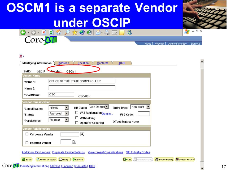 17 OSCM1 is a separate Vendor under OSCIP