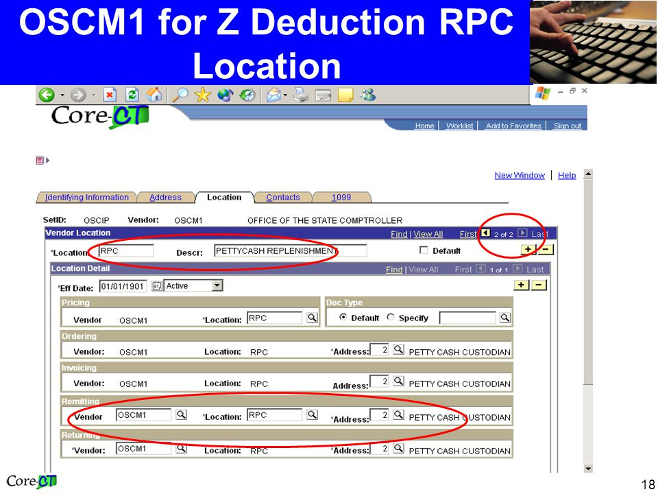 18 OSCM1 for Z Deduction RPC Location
