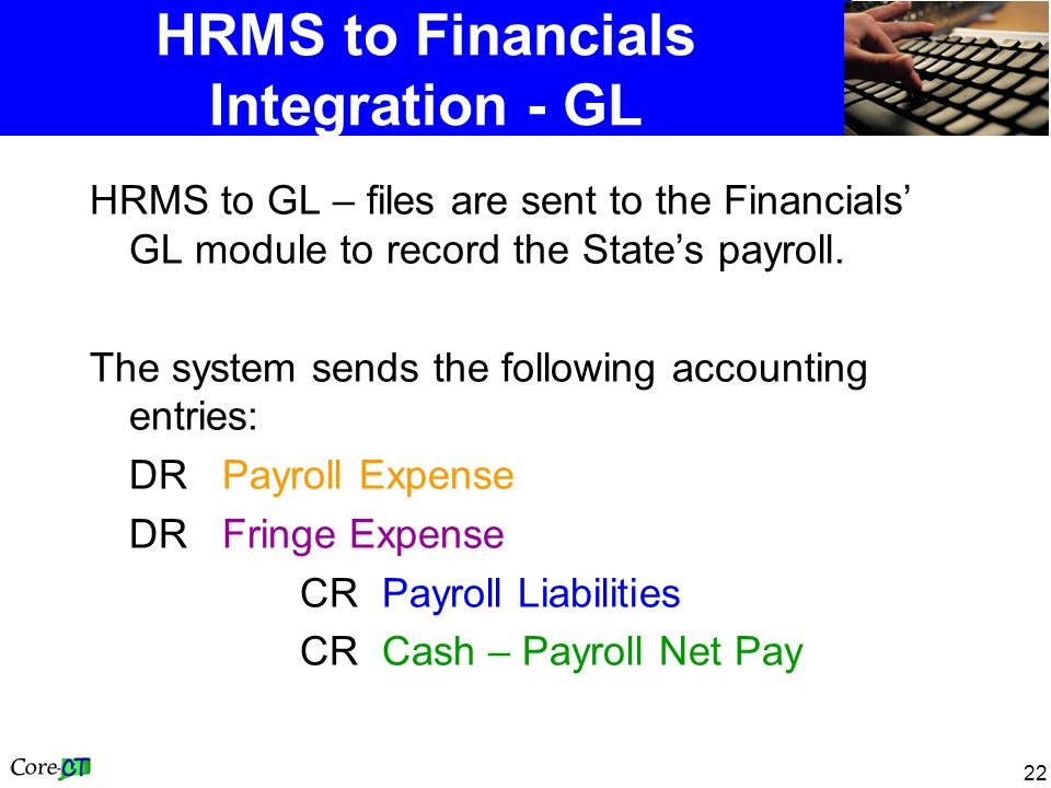 22 HRMS to Financials Integration - GL HRMS to GL – files are sent to the Financials GL module to record the States payroll.