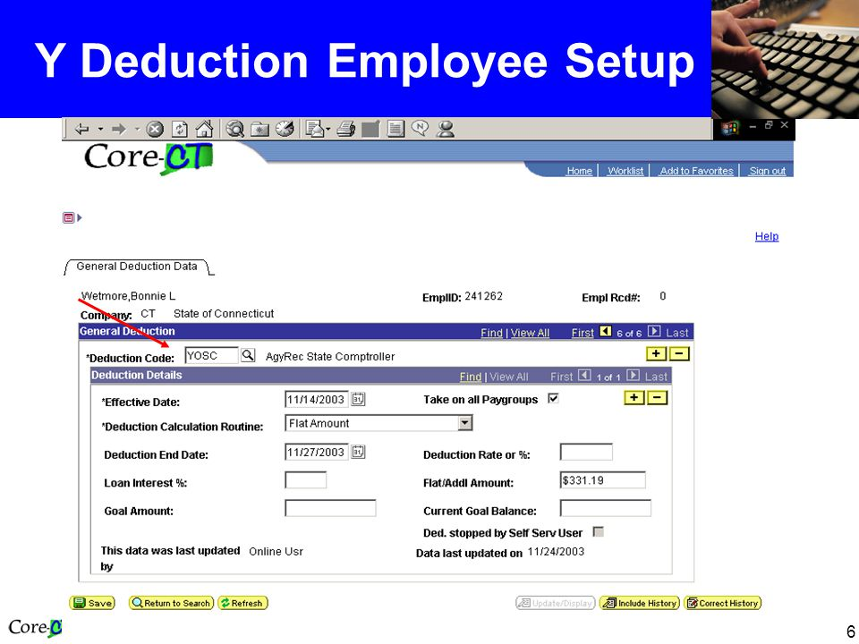 6 Y Deduction Employee Setup
