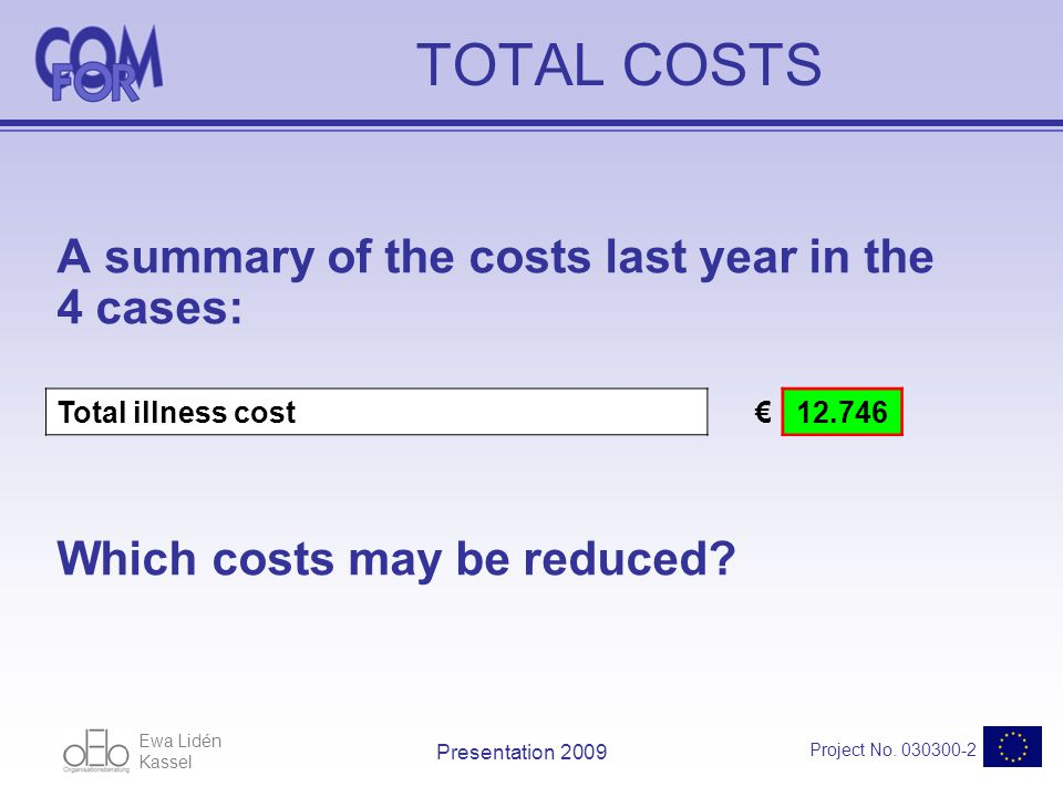 Ewa Lidén Kassel Project No. 030300-2 Presentation 2009 TOTAL COSTS A summary of the costs last year in the 4 cases: Total illness cost12.746 Which co
