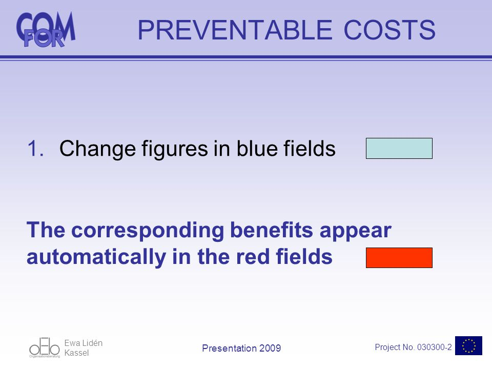 Ewa Lidén Kassel Project No. 030300-2 Presentation 2009 PREVENTABLE COSTS 1.Change figures in blue fields The corresponding benefits appear automatica