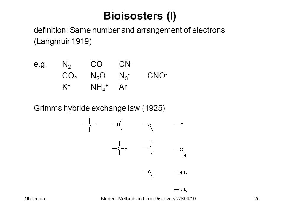 4th lectureModern Methods in Drug Discovery WS09/1025 Bioisosters (I) definition: Same number and arrangement of electrons (Langmuir 1919) e.g.N 2 COCN - CO 2 N 2 ON 3 - CNO - K + NH 4 + Ar Grimms hybride exchange law (1925)