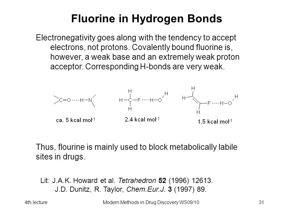 4th lectureModern Methods in Drug Discovery WS09/1031 Fluorine in Hydrogen Bonds Electronegativity goes along with the tendency to accept electrons, not protons.