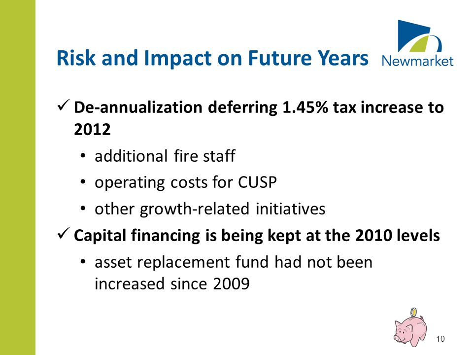 Risk and Impact on Future Years De-annualization deferring 1.45% tax increase to 2012 additional fire staff operating costs for CUSP other growth-related initiatives Capital financing is being kept at the 2010 levels asset replacement fund had not been increased since 2009 10