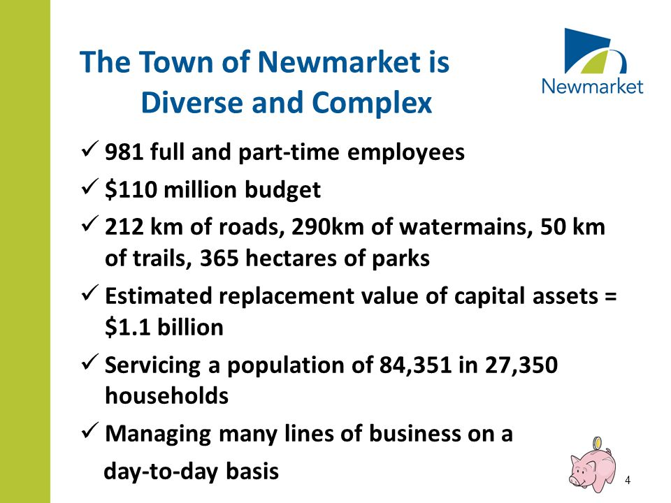The Town of Newmarket is Diverse and Complex 981 full and part-time employees $110 million budget 212 km of roads, 290km of watermains, 50 km of trails, 365 hectares of parks Estimated replacement value of capital assets = $1.1 billion Servicing a population of 84,351 in 27,350 households Managing many lines of business on a day-to-day basis 4