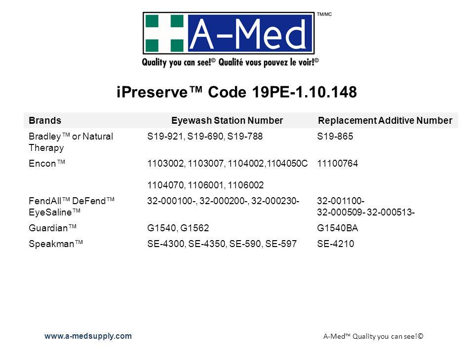 iPreserve Code 19PE-1.10.148 BrandsEyewash Station NumberReplacement Additive Number Bradley or Natural Therapy S19-921, S19-690, S19-788S19-865 Encon1103002, 1103007, 1104002,1104050C11100764 1104070, 1106001, 1106002 FendAll DeFend EyeSaline 32-000100-, 32-000200-, 32-000230-32-001100- 32-000509- 32-000513- GuardianG1540, G1562G1540BA SpeakmanSE-4300, SE-4350, SE-590, SE-597SE-4210 www.a-medsupply.com A-Med Quality you can see!©