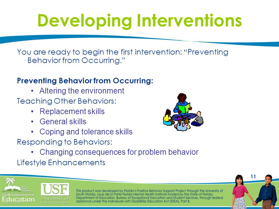 11 Developing Interventions You are ready to begin the first intervention: Preventing Behavior from Occurring. Preventing Behavior from Occurring: Alt