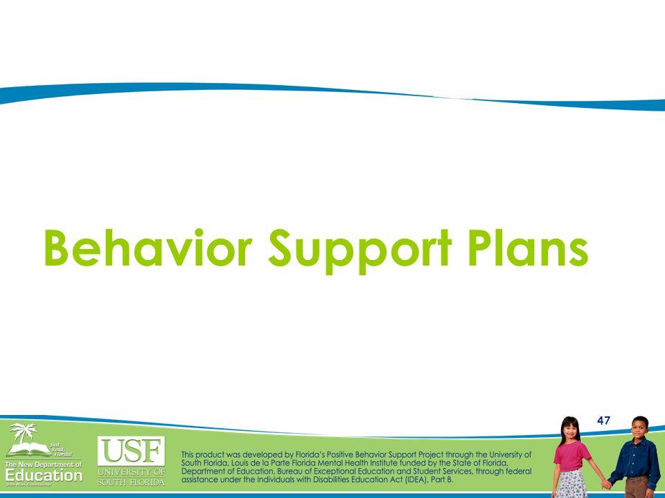 47 Behavior Support Plans