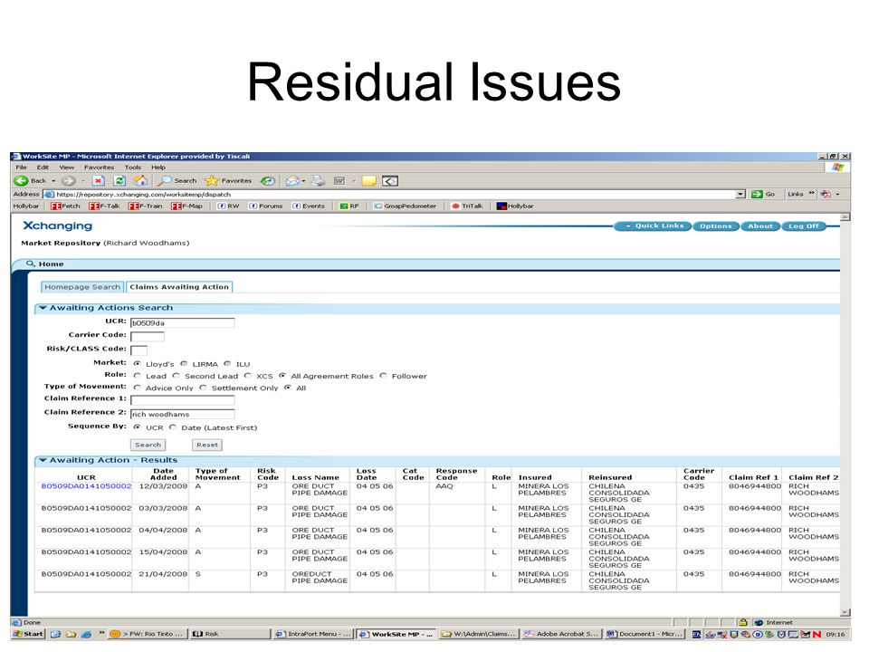 Residual Issues