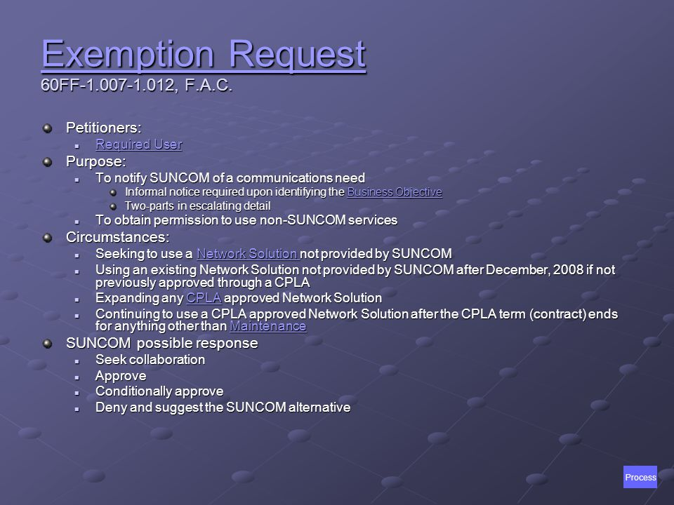 Exemption Request Exemption Request 60FF-1.007-1.012, F.A.C.