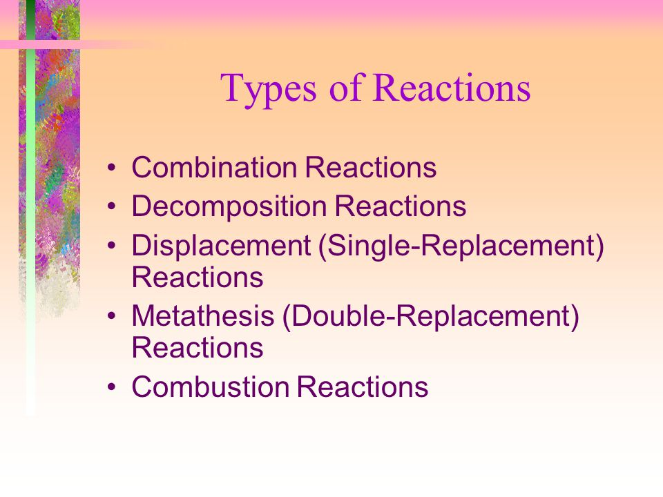 Types of Reactions Combination Reactions Decomposition Reactions Displacement (Single-Replacement) Reactions Metathesis (Double-Replacement) Reactions