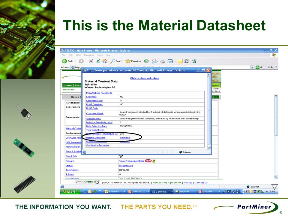 15 THE INFORMATION YOU WANT. THE PARTS YOU NEED. ® This is the Material Datasheet