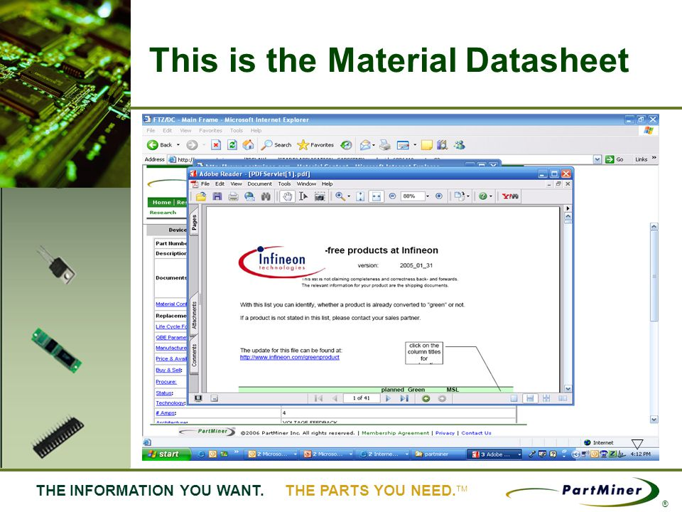 16 THE INFORMATION YOU WANT. THE PARTS YOU NEED. ® This is the Material Datasheet