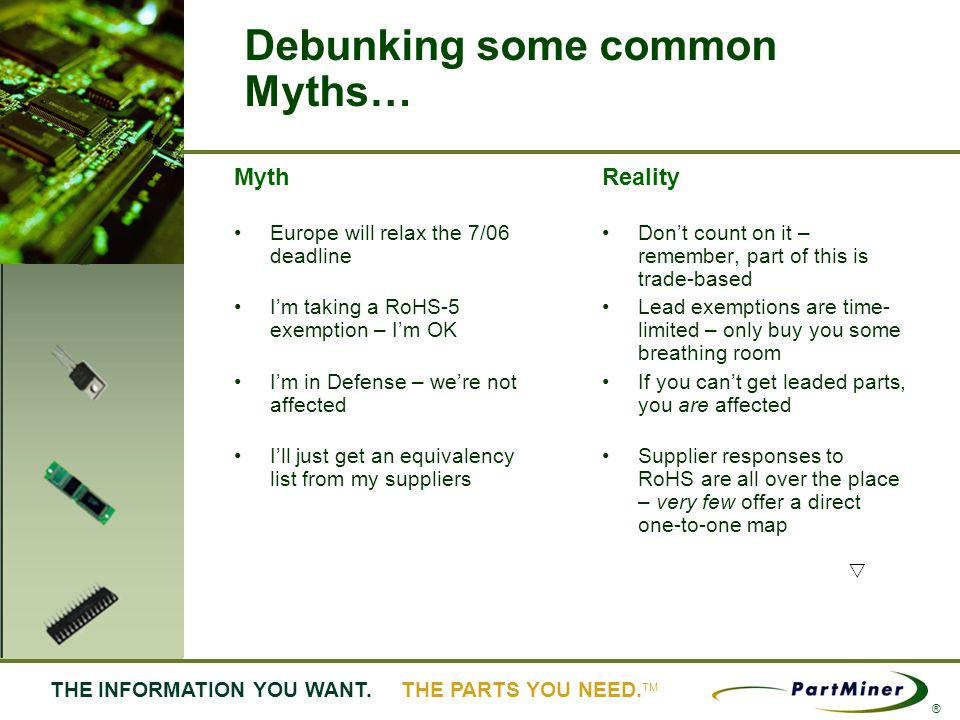 6 THE INFORMATION YOU WANT. THE PARTS YOU NEED. ® Debunking some common Myths… Myth Europe will relax the 7/06 deadline Im taking a RoHS-5 exemption –