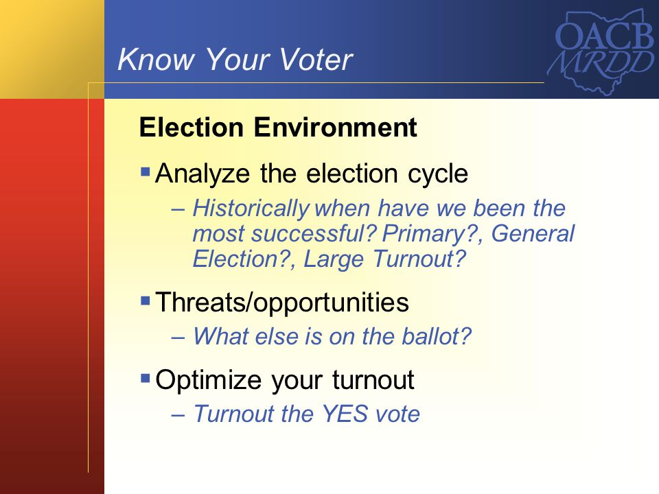 Know Your Voter Election Environment Analyze the election cycle –Historically when have we been the most successful? Primary?, General Election?, Larg