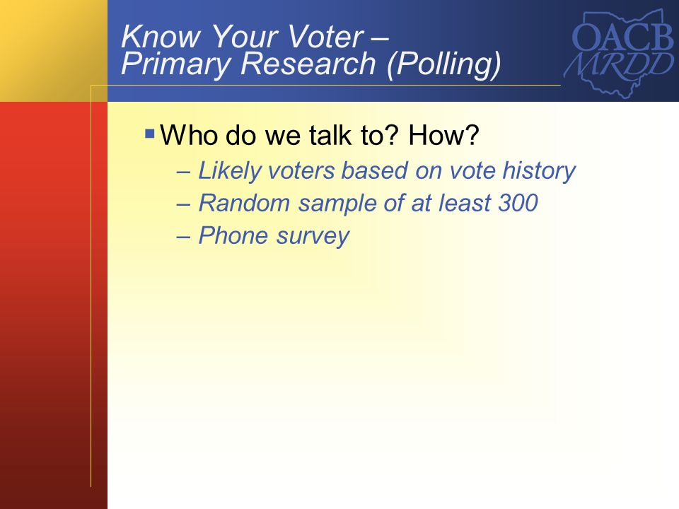 Know Your Voter – Primary Research (Polling) What do we ask.