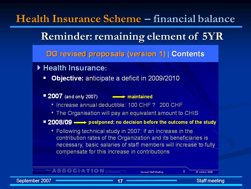 September 2007 Staff meeting 17 Health Insurance Scheme – financial balance Reminder: remaining element of 5YR