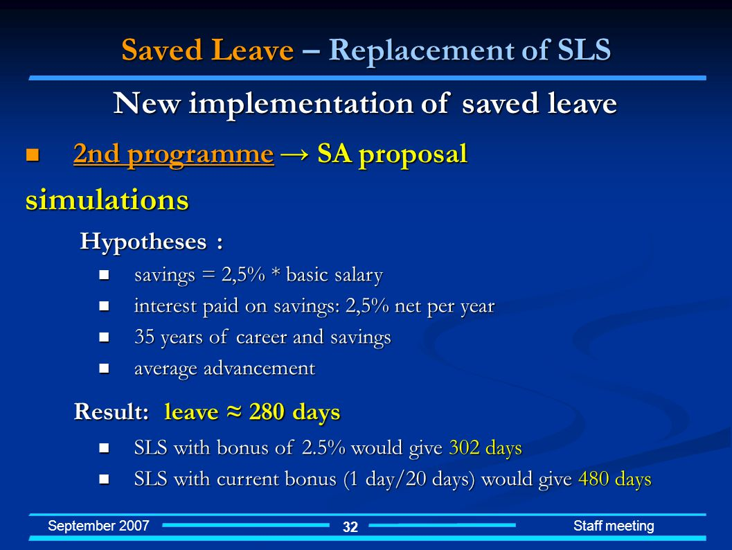 September 2007 Staff meeting 32 Saved Leave – Replacement of SLS 2nd programme SA proposal 2nd programme SA proposalsimulations Hypotheses : Hypotheses : savings = 2,5% * basic salary savings = 2,5% * basic salary interest paid on savings: 2,5% net per year interest paid on savings: 2,5% net per year 35 years of career and savings 35 years of career and savings average advancement average advancement Result: leave 280 days SLS with bonus of 2.5% would give 302 days SLS with bonus of 2.5% would give 302 days SLS with current bonus (1 day/20 days) would give 480 days SLS with current bonus (1 day/20 days) would give 480 days New implementation of saved leave