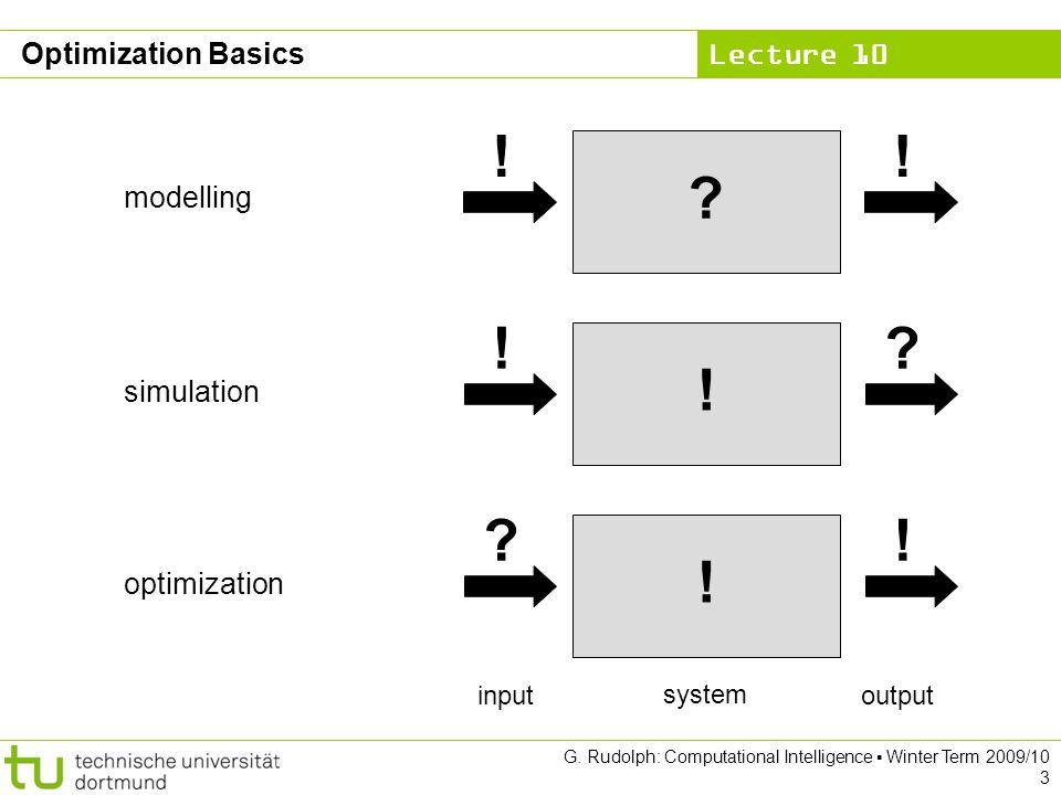 Lecture 10 G. Rudolph: Computational Intelligence Winter Term 2009/10 3 Optimization Basics ? !! ! !? ! ?! modelling simulation optimization system ou