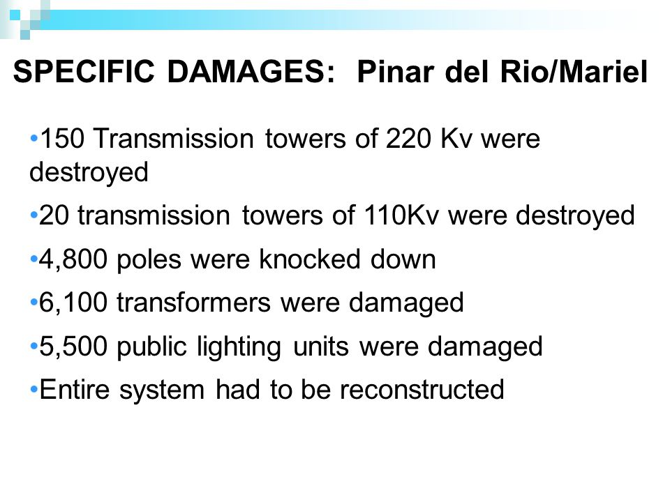 SPECIFIC DAMAGES: Pinar del Rio/Mariel 150 Transmission towers of 220 Kv were destroyed 20 transmission towers of 110Kv were destroyed 4,800 poles were knocked down 6,100 transformers were damaged 5,500 public lighting units were damaged Entire system had to be reconstructed