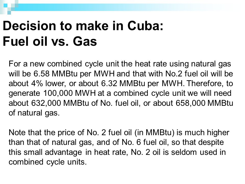 Decision to make in Cuba: Fuel oil vs.