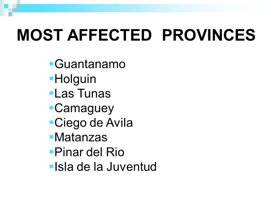 MOST AFFECTED PROVINCES Guantanamo Holguin Las Tunas Camaguey Ciego de Avila Matanzas Pinar del Rio Isla de la Juventud