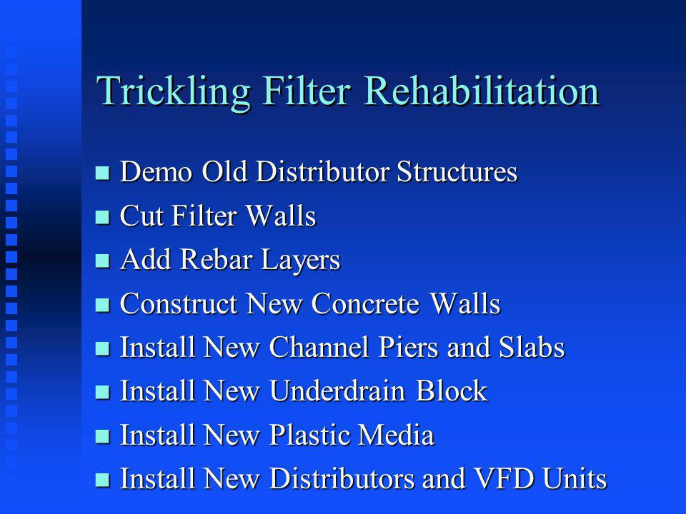 Trickling Filter Rehabilitation n Demo Old Distributor Structures n Cut Filter Walls n Add Rebar Layers n Construct New Concrete Walls n Install New Channel Piers and Slabs n Install New Underdrain Block n Install New Plastic Media n Install New Distributors and VFD Units