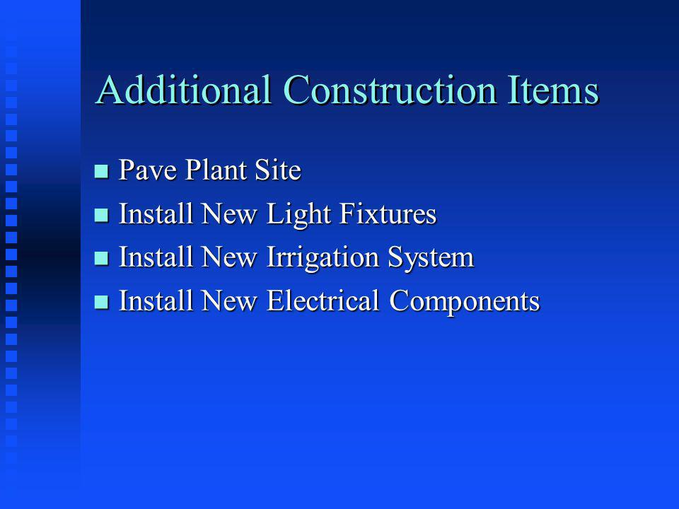 Additional Construction Items n Pave Plant Site n Install New Light Fixtures n Install New Irrigation System n Install New Electrical Components