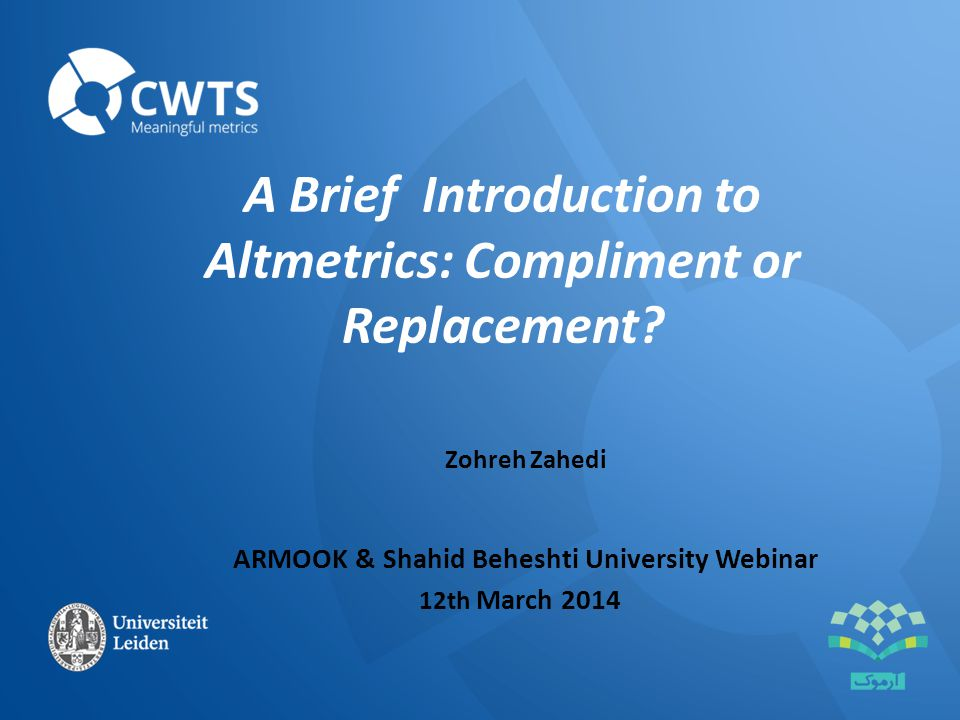 A Brief Introduction to Altmetrics: Compliment or Replacement.