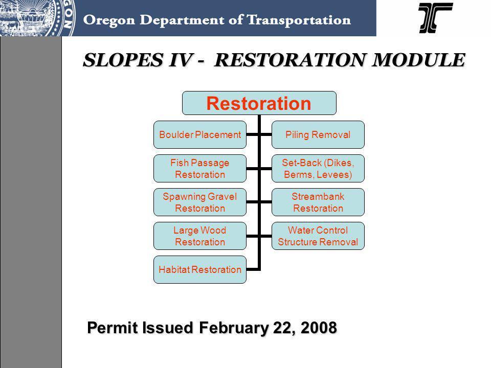 Restoration Boulder Placement Piling Removal Fish Passage Restoration Set-Back (Dikes, Berms, Levees) Spawning Gravel Restoration Streambank Restorati