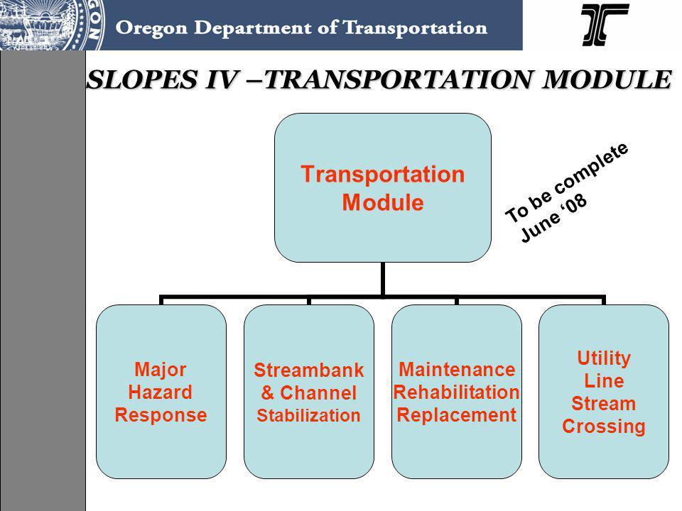 SLOPES IV –TRANSPORTATION MODULE Transportation Module Major Hazard Response Streambank & Channel Stabilization Maintenance Rehabilitation Replacement Utility Line Stream Crossing To be complete June 08