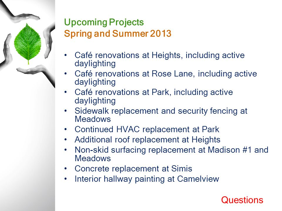 Upcoming Projects Spring and Summer 2013 Café renovations at Heights, including active daylighting Café renovations at Rose Lane, including active day