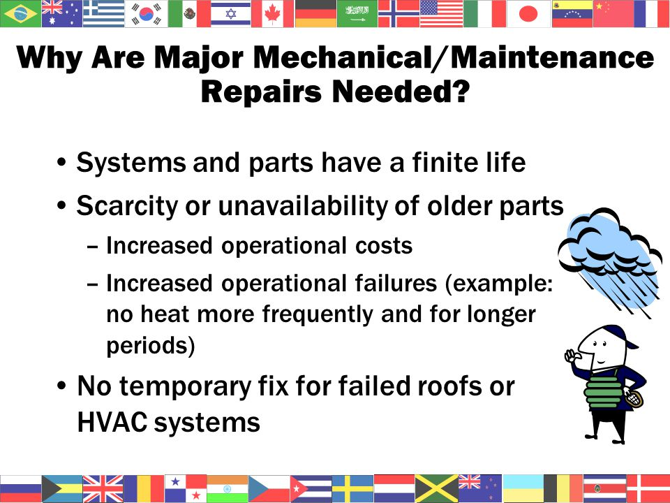 Why Are Major Mechanical/Maintenance Repairs Needed.