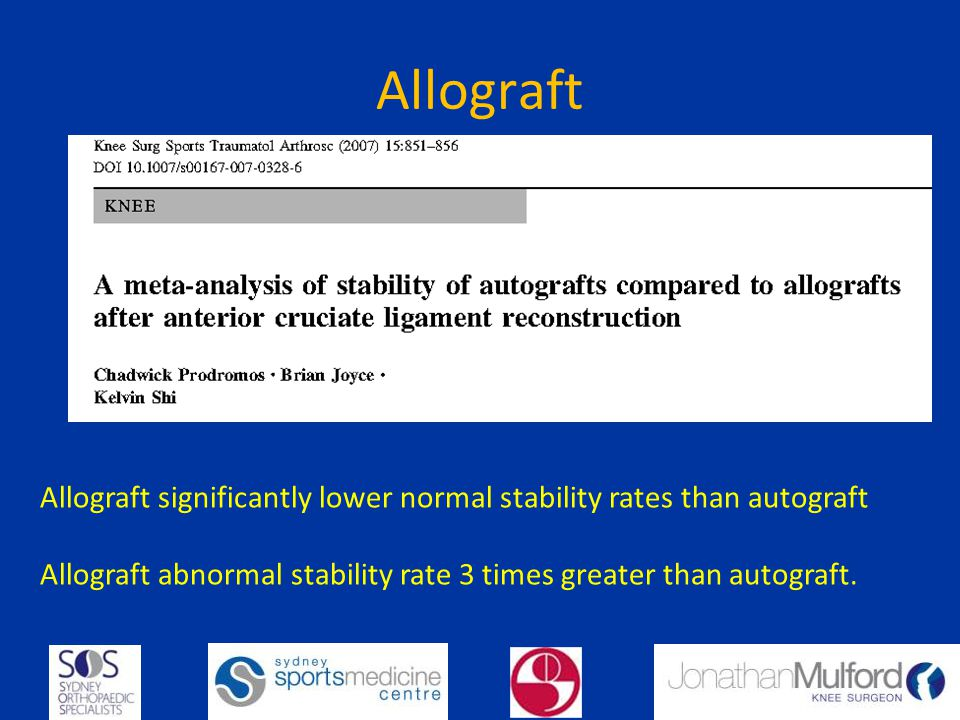 Allograft Allograft significantly lower normal stability rates than autograft Allograft abnormal stability rate 3 times greater than autograft.