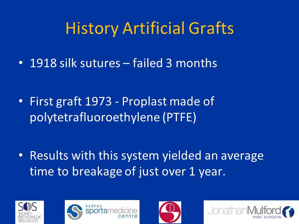 History Artificial Grafts 1918 silk sutures – failed 3 months First graft 1973 - Proplast made of polytetrafluoroethylene (PTFE) Results with this system yielded an average time to breakage of just over 1 year.