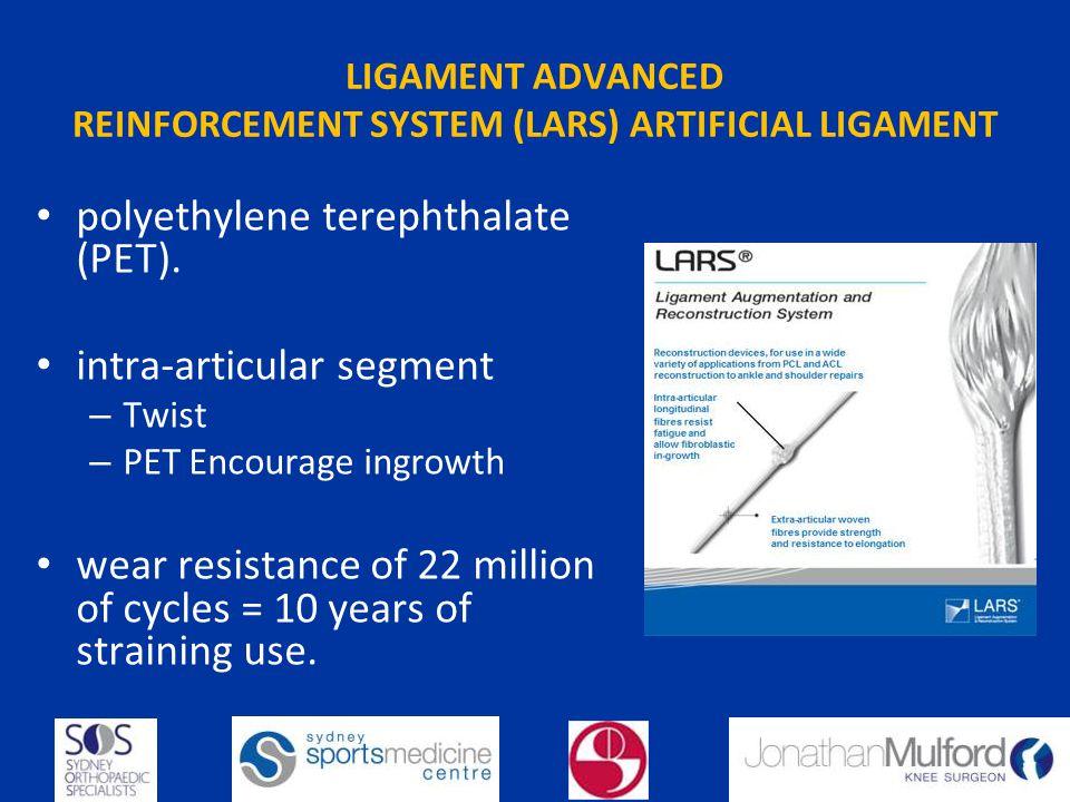 LIGAMENT ADVANCED REINFORCEMENT SYSTEM (LARS) ARTIFICIAL LIGAMENT polyethylene terephthalate (PET).