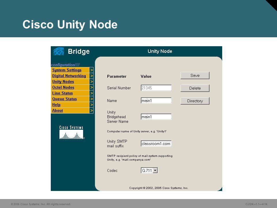 © 2006 Cisco Systems, Inc. All rights reserved. CUDN v1.14-14 Cisco Unity Node