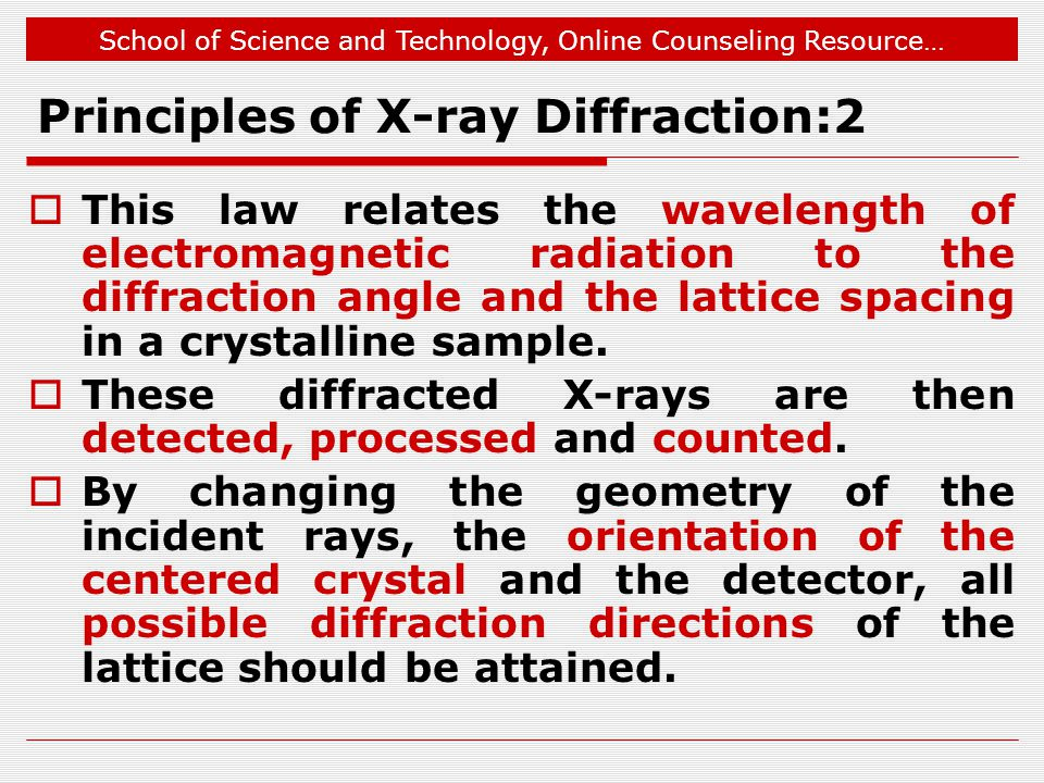 School of Science and Technology, Online Counseling Resource… Principles of X-ray Diffraction:2 This law relates the wavelength of electromagnetic rad