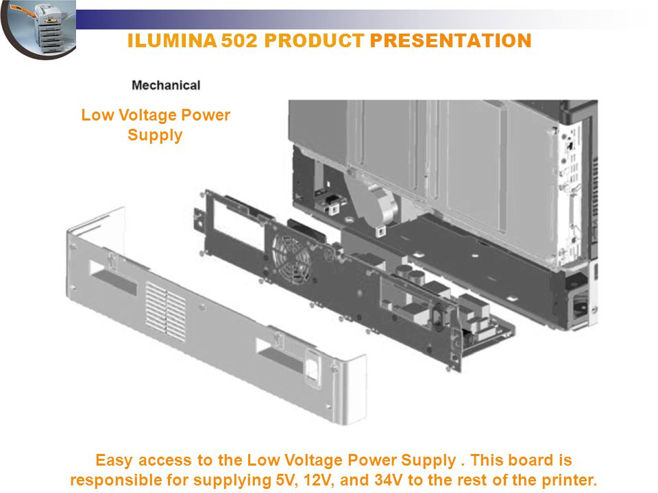 ILUMINA 502 PRODUCT PRESENTATION Easy access to the Low Voltage Power Supply. This board is responsible for supplying 5V, 12V, and 34V to the rest of