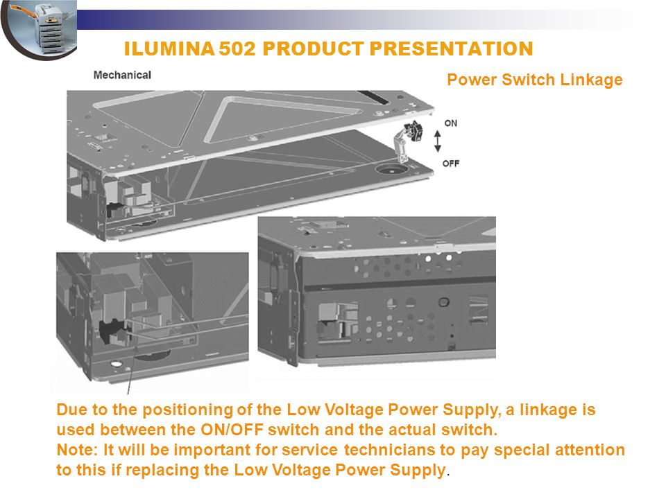 ILUMINA 502 PRODUCT PRESENTATION Power Switch Linkage Due to the positioning of the Low Voltage Power Supply, a linkage is used between the ON/OFF swi